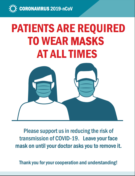 Patients Are Required to Wear Masks At All Times
