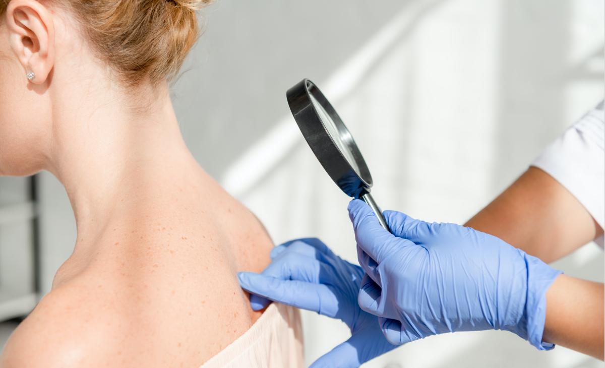 Examining skin under a microscope
